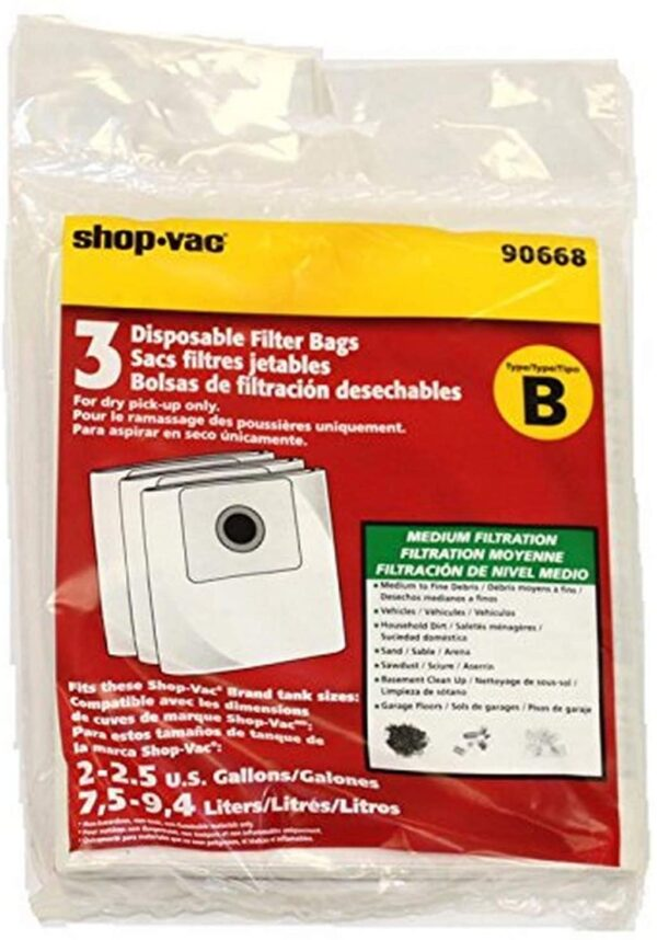 Shop Vac 9066800 Paper Bag, Type B All Around QAM70 3 Pk